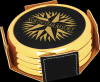 Black Leatherette Round Coaster Set with Gold Edge Boss Gift Awards