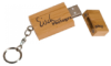 Bamboo Square 8 GB USP Flash Drive with Key Chain Promotional USB Drives