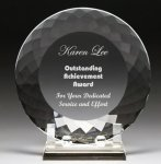 Corporate Crystal Facet Plates Achievement Award Trophies