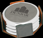 Gray Leatherette Round Coaster Set with Silver Edge Circle Awards