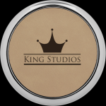 Light Brown Leatherette Coaster with Silver Edge Circle Awards