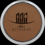 Dark Brown Leatherette Round Coaster with Silver Edge Circle Awards