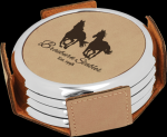 Light Brown Leatherette Round Coaster Set with Silver Edge Circle Awards