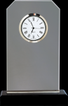 Clipped Corners Clear Glass Clock with Black Base Clipped Corner Awards