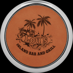 Rawhide Leatherette Round Coaster with Silver Edge Employee Awards