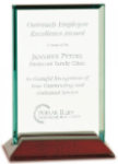 Jade Rectangle Glass with Rosewood Piano Finish Base  Rosewood Glass Awards
