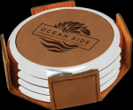 Dark Brown Leatherette Round Coaster Set with Silver Edge Sales Awards