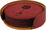 Rose' Leatherette Round Coaster Set Sales Awards