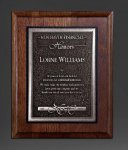 Walnut Panel; Silver Tone Plate Sales Awards