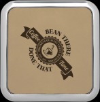 Light Brown Leatherette Square Coaster with Silver Edge Square Rectangle Awards