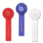 Classic Single Streamer Rosette Award Ribbon Volleyball Trophy Awards